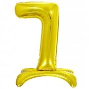 Шар (32''/81 см) Цифра, 7 на подставке, Золото, 1 шт.