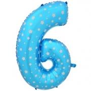 Шар Цифра, 6, Голубой, 1 шт.