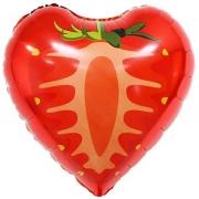 Шар (18''/46 см) Сердце, Клубника, Красный, 1 шт.