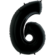 Шар Цифра, 6, Черный, 1 шт.