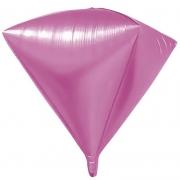 Шар 3D (24''/61 см) Алмаз, Розовый, 1 шт.