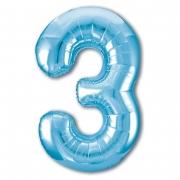 Шар (40''/102 см) Цифра, 3 Slim, Голубой, 1 шт.