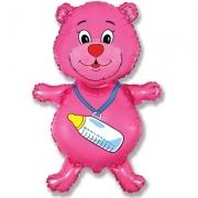 Шар (37''/94 см) Фигура, Медвежонок-девочка, Розовый, 1 шт.