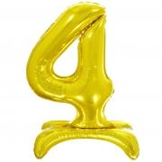 Шар (32''/81 см) Цифра, 4 на подставке, Золото, 1 шт.