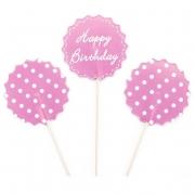 Пики-топперы для канапе С Днем Рождения! (белые точки), Розовый, 4*12 см, 12 шт.