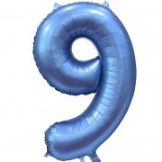 Шар Цифра, 9, Синий, Сатин, 1 шт.