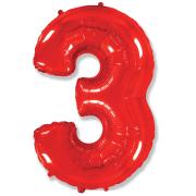 Шар Цифра, 3, Красный, 1 шт.