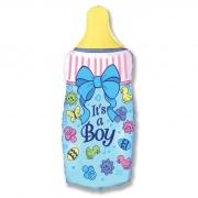Шар (31''/79 см) Фигура, Бутылочка для мальчика, Голубой, 1 шт.