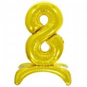 Шар (32''/81 см) Цифра, 8 на подставке, Золото, 1 шт.