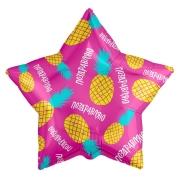 Шар (21''/53 см) Звезда, Поздравляю (ананасовый микс), Фуше, 1 шт.