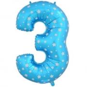 Шар Цифра, 3, Голубой, 1 шт.