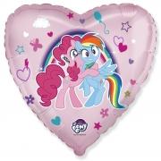 Шар (18''/46 см) Сердце, My Little Pony, Лошадки Пинки Пай и Радуга, Розовый, 1 шт.