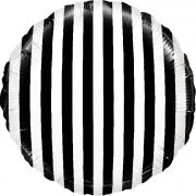 Шар (18''/46 см) Круг, В полоску, Черный/Белый, 1 шт.
