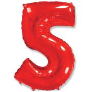 Шар Цифра, 5, Красный, 1 шт.