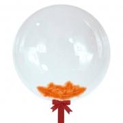 Шар-сфера с оранжевыми перьями, 45 см