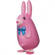 Шар (25''/64 см) Ходячая Фигура, Кролик, Розовый, 1 шт.