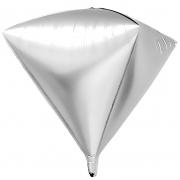 Шар 3D (27''/69 см) Алмаз, Серебро, 1 шт.