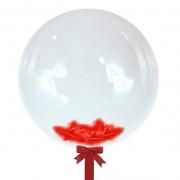 Шар-сфера с красными перьями, 45 см