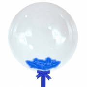 Шар-сфера с синими перьями, 45 см