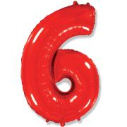 Шар Цифра, 6, Красный, 1 шт.