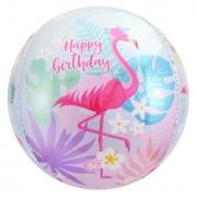 Шар (24''/61 см) Сфера 3D, С Днем Рождения (фламинго), 1 шт.
