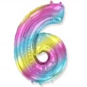 Шар (40''/102 см) Цифра, 6, Диагональная радуга, 1 шт.