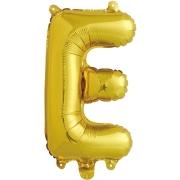 Шар с клапаном (16''/41 см) Мини-буква, Е, Золото, в упаковке 1 шт.