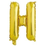 Шар с клапаном (16''/41 см) Мини-буква, Н, Золото, в упаковке 1 шт.