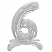 Шар (32''/81 см) Цифра, 6 на подставке, Серебро, 1 шт.