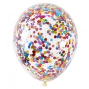 Шар (12''/30 см) С круглым, разноцветным, конфетти, 1 шт.