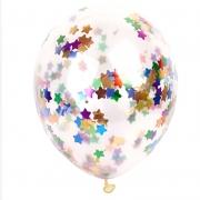 Шар (12''/30 см) С разноцветным конфетти, звезды, 1 шт.
