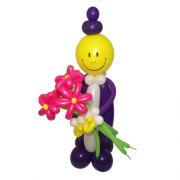 Клоун Джентельмен с букетом (3 ромашки)
