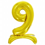 Шар (32''/81 см) Цифра, 9 на подставке, Золото, 1 шт.