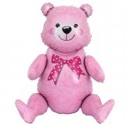 Шар (32''/81 см) Фигура, Сидячий мишка, Розовый, 1 шт.