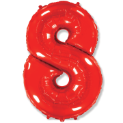 Шар Цифра, 8, Красный, 1 шт.