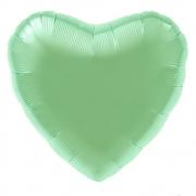 Шар (19''/48 см) Сердце, Мятный, Сатин, 1 шт.