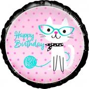 Воздушный шар (18''/46 см) Круг, С Днем рождения! (кошка), 1 шт.