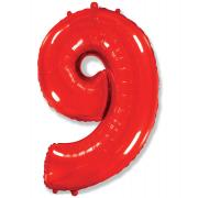 Шар Цифра, 9, Красный, 1 шт.