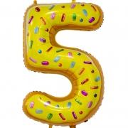 Шар Цифра, 5, Пончик, 1 шт.