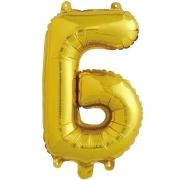 Шар с клапаном (16''/41 см) Мини-буква, Б, Золото, в упаковке 1 шт.