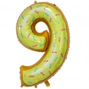 Шар Цифра, 9, Пончик, 1 шт.