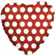 Шар (18''/46 см) Сердце, Точки, Красный, 1 шт.