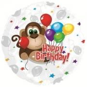 Шар (18''/46 см) Круг, С Днем рождения (обезьянка) , Серебро, 1 шт.