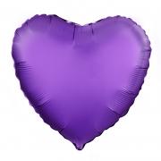Шар (19''/48 см) Сердце, Фиолетовый, Сатин, 1 шт.