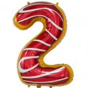 Шар Цифра, 2, Пончик, 1 шт.