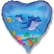Шар (18''/46 см) Сердце, Счастливый дельфин, Голубой, 1 шт.