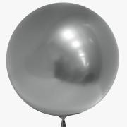 Шар (18''/46 см) Сфера 3D, Deco Bubble, Серебро, Хром, 1 шт.