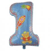 Шар Цифра, Первый день рождения, Мальчик, Голубой, 1 шт.
