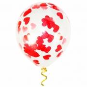 Шар (12''/30 см) С красным конфетти , сердце, 1 шт.