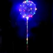 Шар (15''/38 см) Сфера 3D, Deco Bubble со светящейся нитью и палкой - ручкой, 1 шт